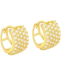 Ib&b - 9ct Yellow Gold 5 Row Cubic Zirconia Huggy Earrings - Lyst