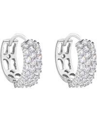 Ib&b - 9ct White Gold 3 Row Cubic Zirconia Hoop Earrings - Lyst