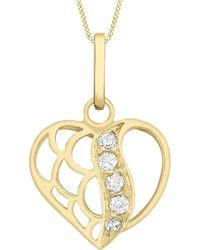 Ib&b | 9ct Gold Cubic Zirconia Open Heart Pendant | Lyst