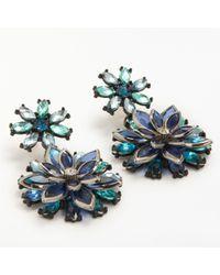 John Lewis - Statement Glass Crystal Flower Drop Earrings - Lyst