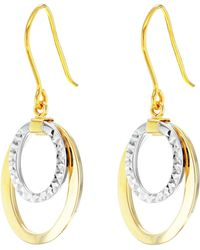 John Lewis - Ibb 9ct Gold 2 Tone Double Oval Drop Earrings - Lyst