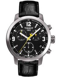 Tissot - T0554171605700 Men's Prc 200 Chronograph Date Leather Strap Watch - Lyst