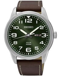 Seiko - Sne473p1 Men's Conceptual Day Date Leather Strap Watch - Lyst