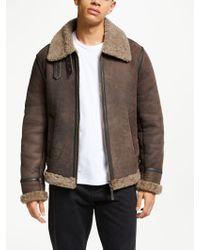 John Lewis - Shearling Leather Flight Jacket - Lyst