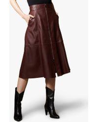Karen Millen - Leather Vertical Zip Skirt - Lyst