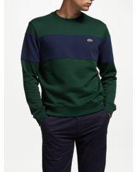 Lacoste - Crew Neck Block Stripe Sweatshirt - Lyst