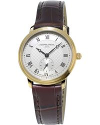 Frederique Constant - Fc-235m1s5 Women's Slimline Leather Strap Watch - Lyst