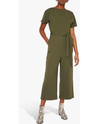 0f8def105d10 Warehouse Linen Button Front Jumpsuit in Green - Save 87% - Lyst