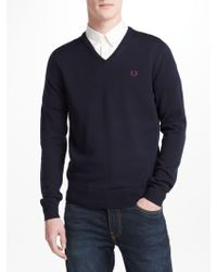 Fred Perry - Classic Tipped V-neck Jumper - Lyst