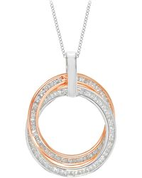 Ib&b - 9ct Gold Cubic Zirconia Double Ring Pendant Necklace - Lyst