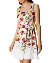 John Lewis - Floral A-line Dress - White/multi - Lyst