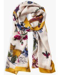 Joules - Woodland Floral Hampton Silk Scarf - Lyst