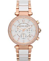 Michael Kors - Mk5774 Women's Parker Ceramic Chronograph Bracelet Strap Watch - Lyst
