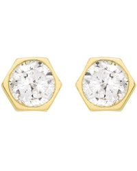 Ib&b - 9ct Gold Hexagonal Cubic Zirconia Stud Earrings - Lyst