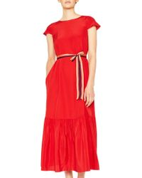 Paul Smith - Red Midi Dress With Pleated Hem - Lyst
