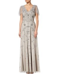Adrianna Papell - Long Beaded Dress - Lyst
