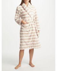 John Lewis - Stripe Waffle Fleece Dressing Gown - Lyst