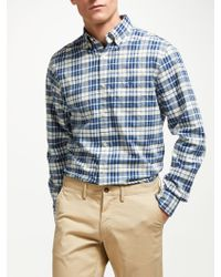 GANT - Winter Twill Melange Plaid Shirt - Lyst