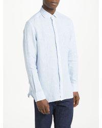 Hackett | Striped Linen Long Sleeve Shirt | Lyst