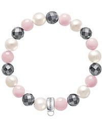 Thomas Sabo - Charm Club Freshwater Pearl And Quartz Bracelet - Lyst