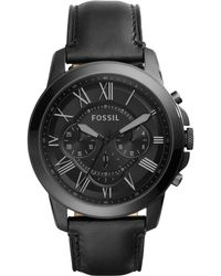 82402fbfb45f0 Fossil Men s Grant Chronograph Leather Strap Watch in Black for Men ...