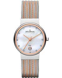 Skagen - Women's Mother Of Pearl Dial Two Tone Bracelet Strap Watch - Lyst