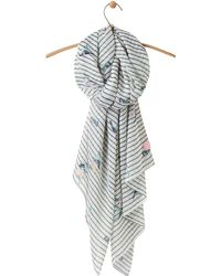 Joules - Wensley Bird And Stripe Scarf - Lyst