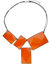 One Button - 4 Large Rectangular Facets Necklace - Lyst