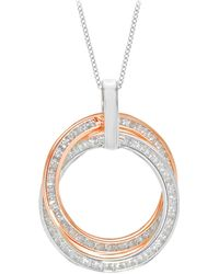 Ib&b   9ct Gold Cubic Zirconia Double Ring Pendant Necklace   Lyst