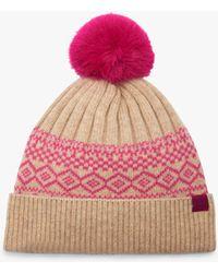 Joules - Elsa Fair Isle Bobble Hat - Lyst