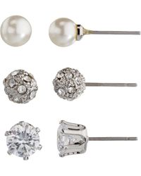 John Lewis - Faux Pearl And Diamante Round Stud Earrings - Lyst