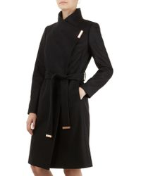 482bffe43c512a Ted Baker Aurore Long Wrap Collar Coat in Natural - Lyst