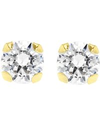 Ib&b - 9Ct Gold Round Cubic Zirconia Stud Earrings - Lyst