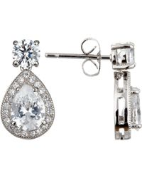 Ivory & Co. - Teardrop Cubic Zirconia Pave Drop Earrings - Lyst
