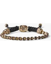 John Varvatos - Beaded Brass Skull Bracelet - Lyst