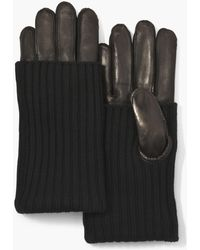 John Varvatos - Knit Covered Leather Gloves - Lyst