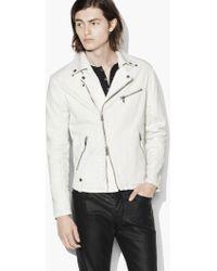 John Varvatos - Coated Moto Jacket With Asymmetrical Zip Closure - Lyst