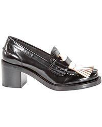 Burberry - Contrast Kiltie Fringe Leather Block Heel Loafers - Lyst
