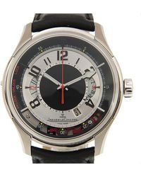 Jaeger-lecoultre - Amvox2 Black And Silver Dial Stainless Steel Black Leather Automatic Mens Watch - Lyst