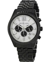 Michael Kors - Lexington Chronograph Silver Crystal Pave Dial Mens Watch - Lyst