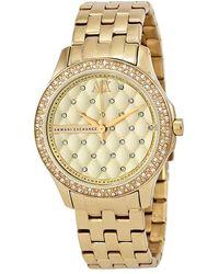 Armani Exchange Lady Hamilton Champagne Dial Unisex Watch - Metallic