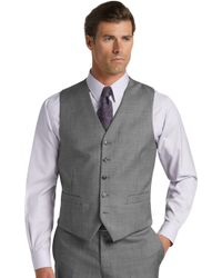 5a910f7ba9 A. Bank - Traveler Collection Tailored Fit Sharkskin Men's Suit Separate Vest  Clearance