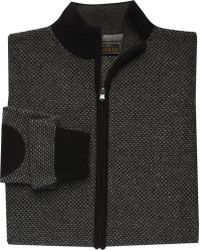 Jos. A. Bank - Reserve Collection Tailored Fit Birdseye Zip Front Sweater Clearance - Lyst