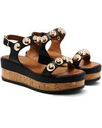 Inuovo - Studded Slingback Wedge Sandals - Lyst