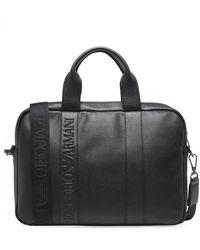 Armani - Faux Leather Logo Briefcase - Lyst