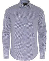 Armani - Slim Fit Geometric Print Shirt - Lyst