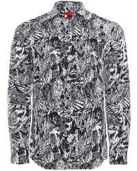 HUGO - Extra Slim Fit Hawaiian Skeleton Ero3 Shirt - Lyst