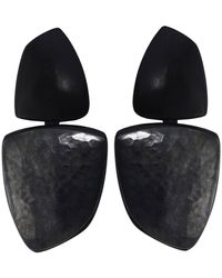 Monies - Ebony & Oxidised Copper Clip On Earrings - Lyst