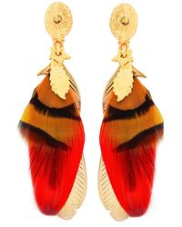 Gas Bijoux | Sao Feather Drop Earrings | Lyst