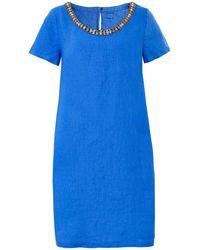 120% Lino | Short Sleeve Linen Dress | Lyst